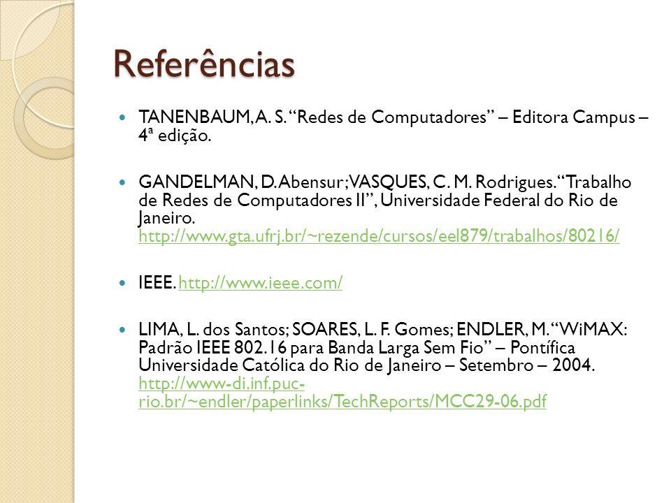 Referências TANENBAUM, A. S. Redes de Computadores – Editora Campus – 4ª edição. GANDELMAN, D. Abensur; VASQUES, C. M. Rodrigues. Trabalho de Redes de