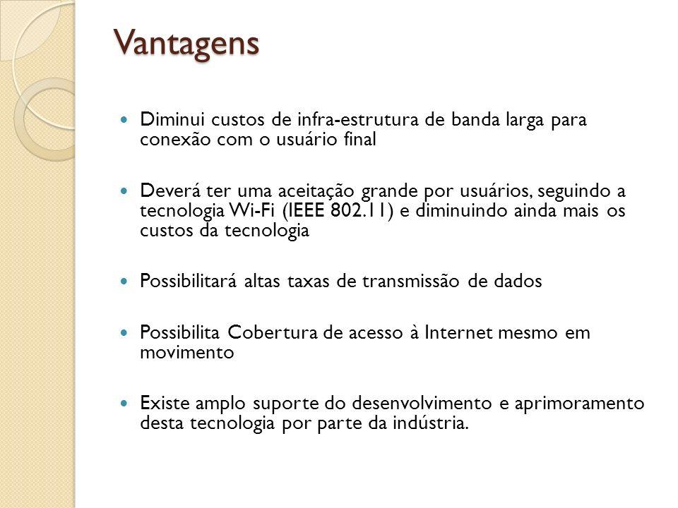 Vantagens Diminui custos de infra-estrutura de banda larga para conexão com o usuário final Deverá ter uma aceitação grande por usuários, seguindo a t