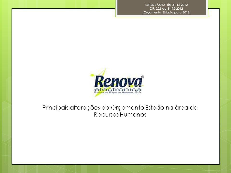 Lei 66-B/2012 de 31-12-2012 DR. 252 de 31-12-2012 (Orçamento Estado para 2013) Principais alterações do Orçamento Estado na àrea de Recursos Humanos