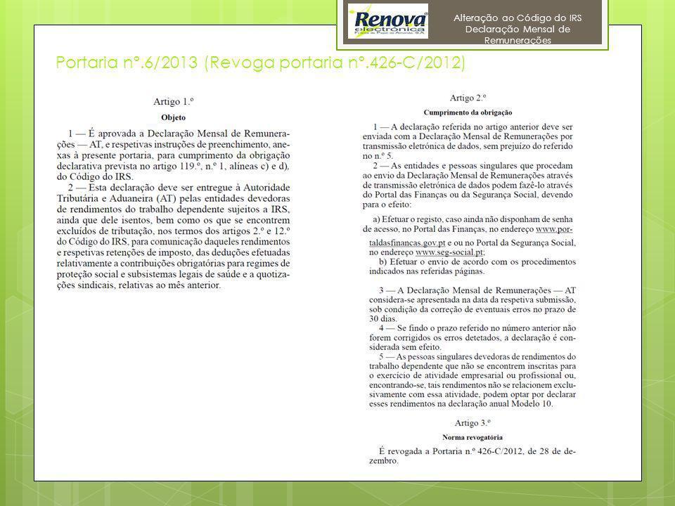 11 Alteração ao Código do IRS Declaração Mensal de Remunerações Portaria nº.6/2013 (Revoga portaria nº.426-C/2012)