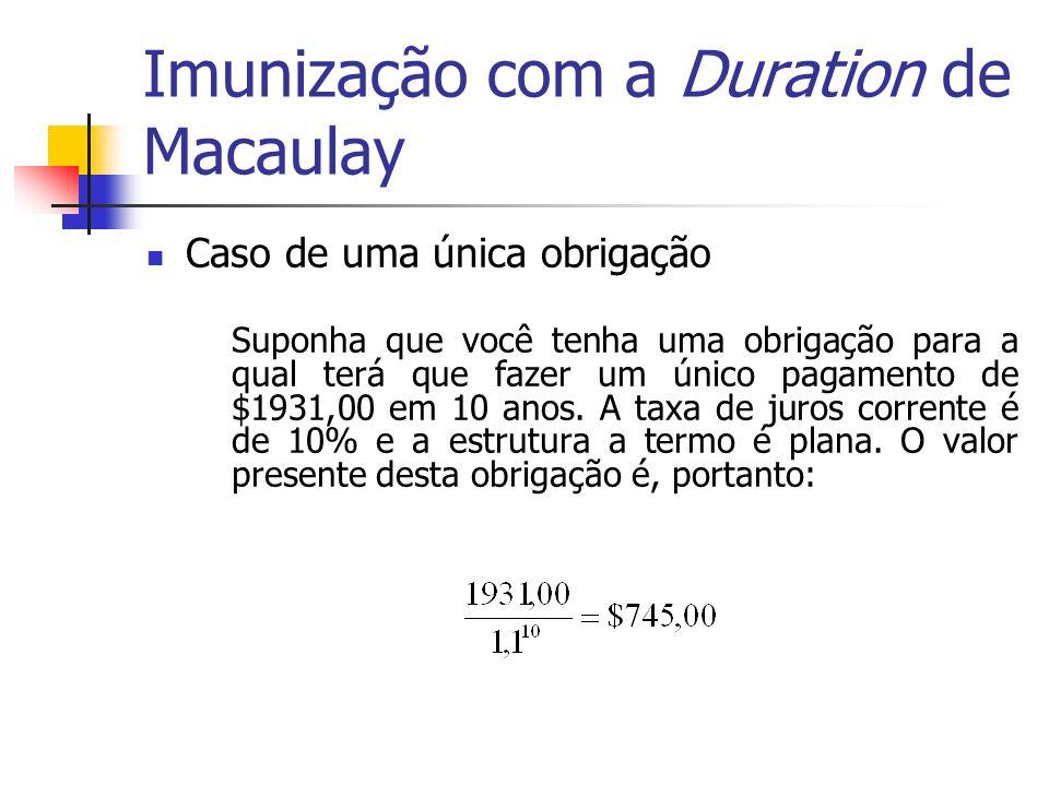 Imunização com a Duration de Macaulay Caso de uma única obrigação Suponha que você tenha uma obrigação para a qual terá que fazer um único pagamento d