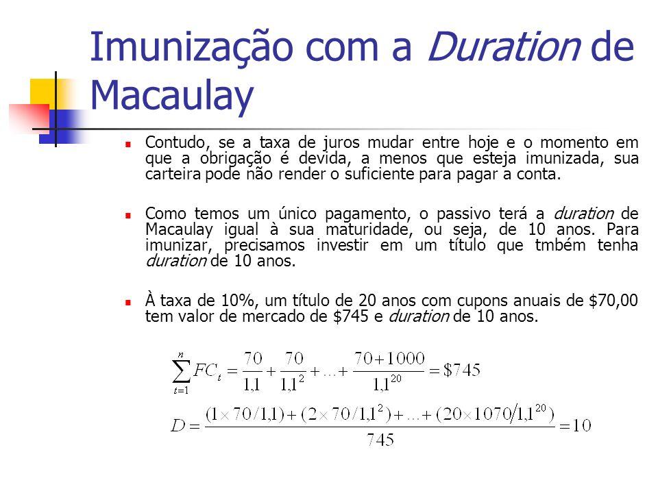 Imunização com a Duration de Macaulay Contudo, se a taxa de juros mudar entre hoje e o momento em que a obrigação é devida, a menos que esteja imuniza