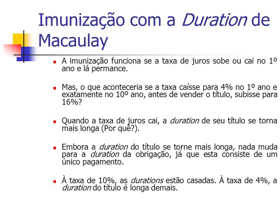 Imunização com a Duration de Macaulay A imunização funciona se a taxa de juros sobe ou cai no 1º ano e lá permance. Mas, o que aconteceria se a taxa c