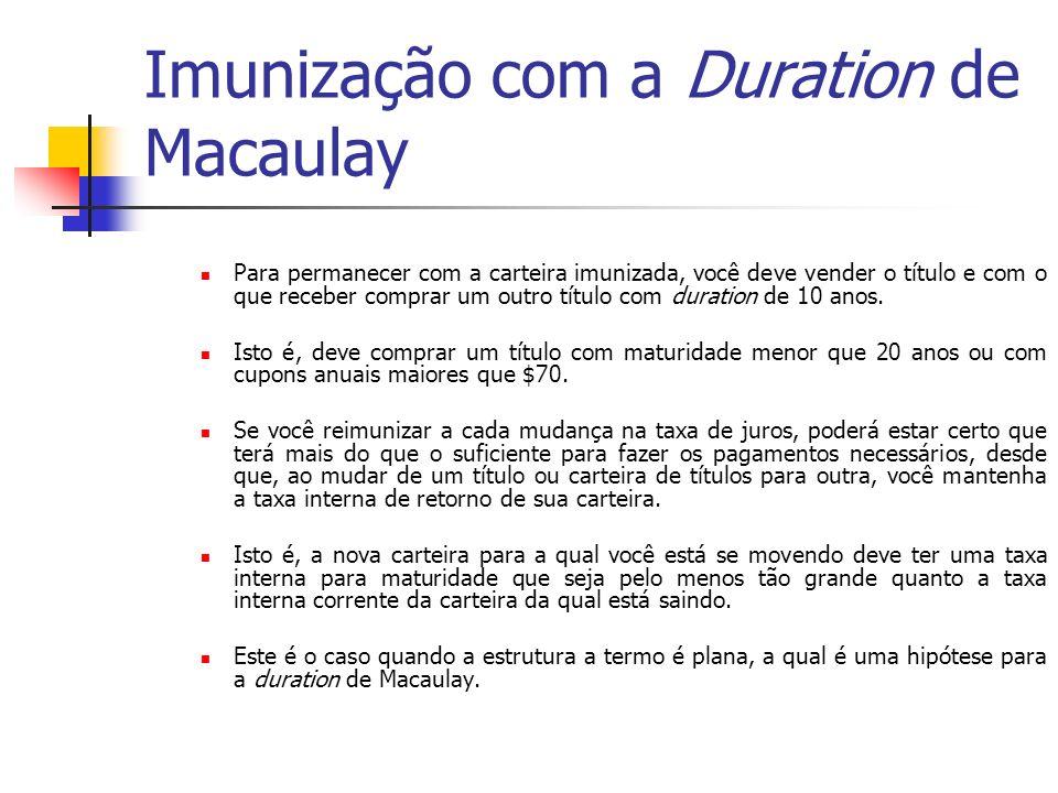 Imunização com a Duration de Macaulay Para permanecer com a carteira imunizada, você deve vender o título e com o que receber comprar um outro título