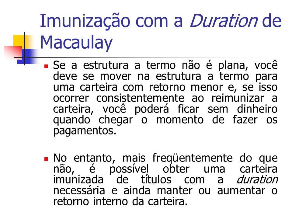 Imunização com a Duration de Macaulay Se a estrutura a termo não é plana, você deve se mover na estrutura a termo para uma carteira com retorno menor