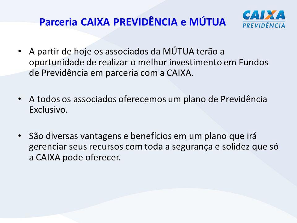 Parceria CAIXA PREVIDÊNCIA e MÚTUA A partir de hoje os associados da MÚTUA terão a oportunidade de realizar o melhor investimento em Fundos de Previdência em parceria com a CAIXA.