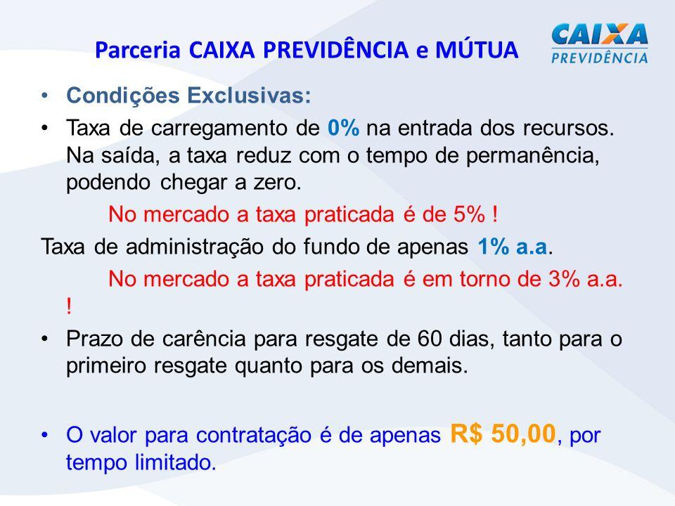 Parceria CAIXA PREVIDÊNCIA e MÚTUA Condições Exclusivas: Taxa de carregamento de 0% na entrada dos recursos.