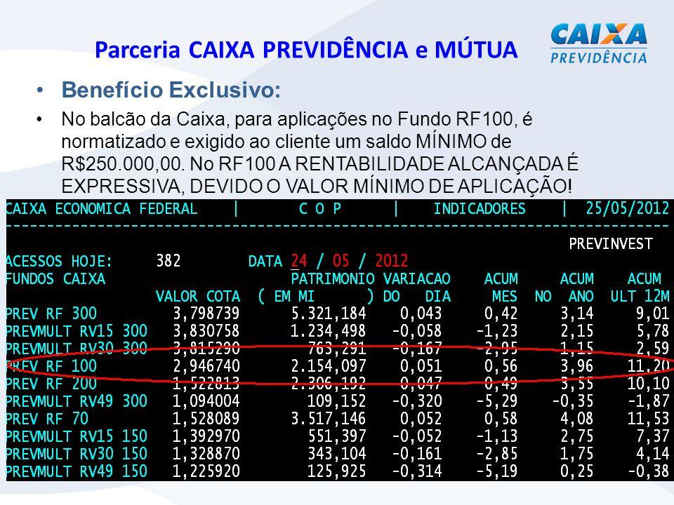 Parceria CAIXA PREVIDÊNCIA e MÚTUA Benefício Exclusivo: No balcão da Caixa, para aplicações no Fundo RF100, é normatizado e exigido ao cliente um saldo MÍNIMO de R$250.000,00.