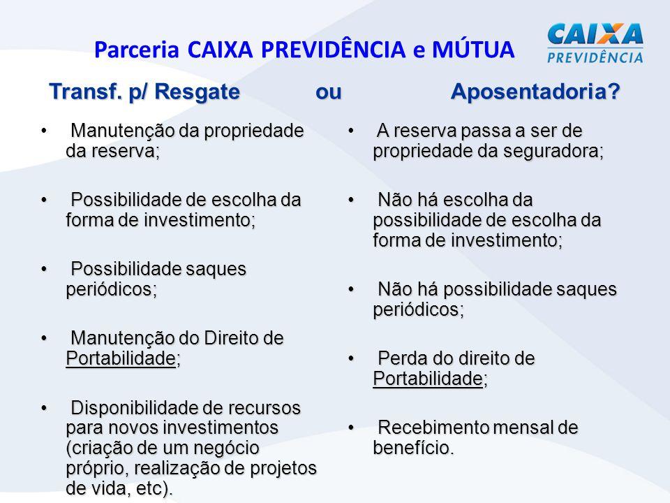 Parceria CAIXA PREVIDÊNCIA e MÚTUA Transf.p/ Resgate ou Aposentadoria.