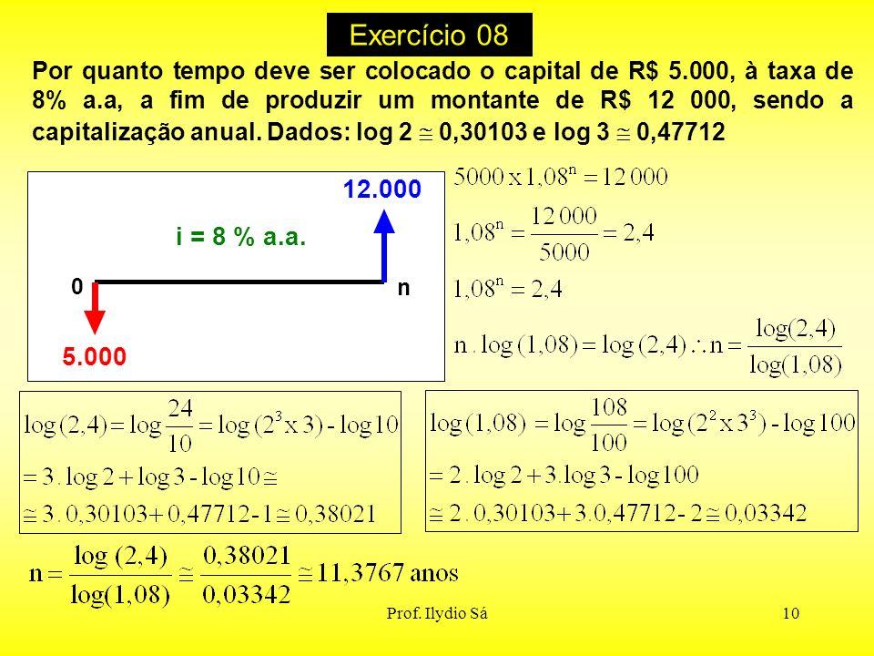Prof. Ilydio Sá10 Exercício 08 i = 8 % a.a. 12.000 5.000 0 n Por quanto tempo deve ser colocado o capital de R$ 5.000, à taxa de 8% a.a, a fim de prod