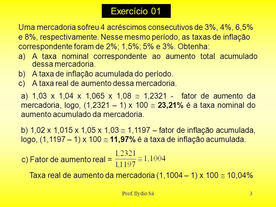 3 Exercício 01 Uma mercadoria sofreu 4 acréscimos consecutivos de 3%, 4%, 6,5% e 8%, respectivamente. Nesse mesmo período, as taxas de inflação corres