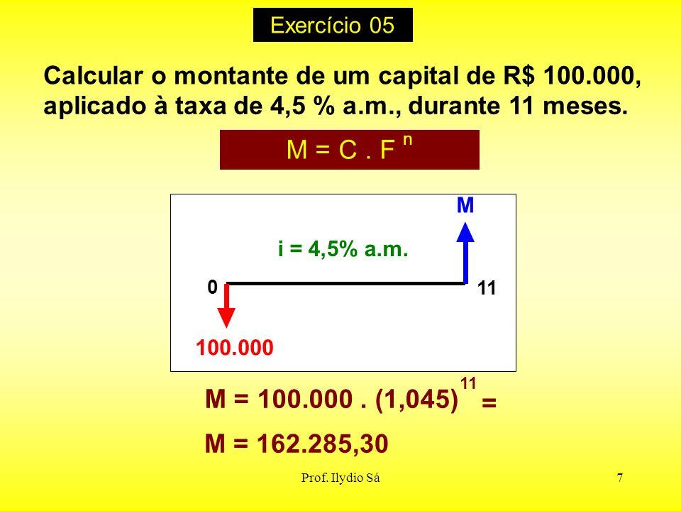 Prof. Ilydio Sá7 Calcular o montante de um capital de R$ 100.000, aplicado à taxa de 4,5 % a.m., durante 11 meses. M = C. F n i = 4,5% a.m. M 100.000