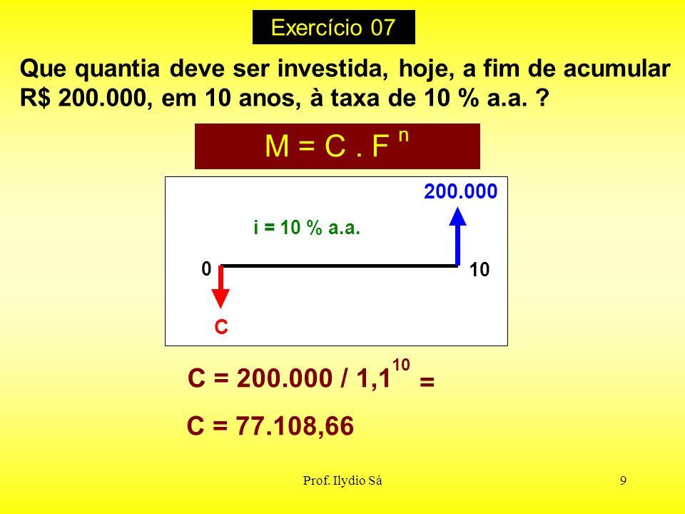 Prof. Ilydio Sá9 Que quantia deve ser investida, hoje, a fim de acumular R$ 200.000, em 10 anos, à taxa de 10 % a.a. ? i = 10 % a.a. 200.000 C 0 10 M