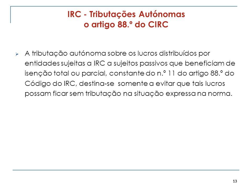 13 IRC - Tributações Autónomas o artigo 88.º do CIRC A tributação autónoma sobre os lucros distribuídos por entidades sujeitas a IRC a sujeitos passiv