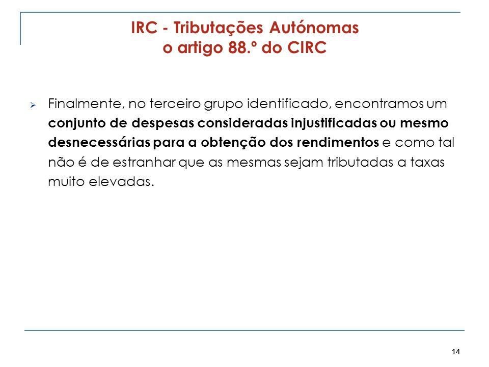 14 IRC - Tributações Autónomas o artigo 88.º do CIRC Finalmente, no terceiro grupo identificado, encontramos um conjunto de despesas consideradas inju