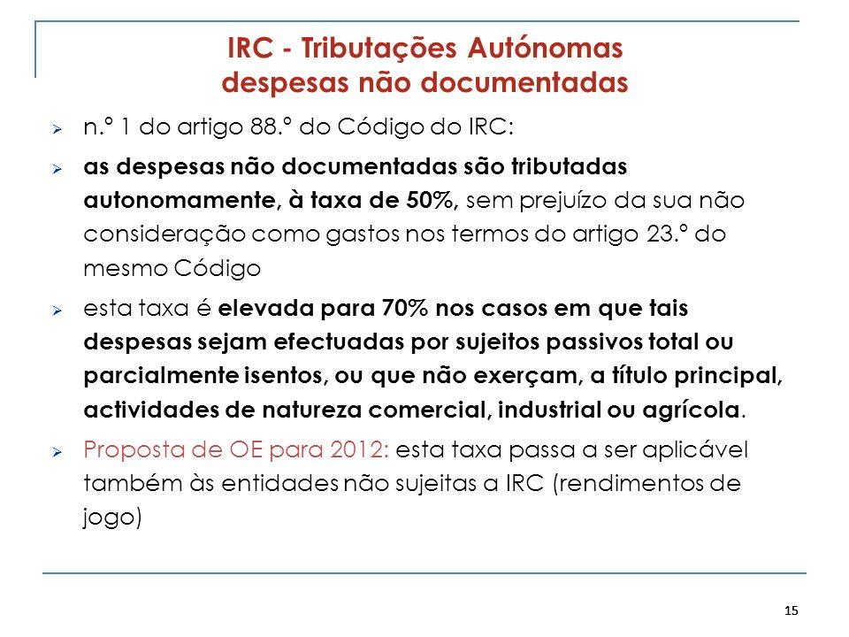 15 IRC - Tributações Autónomas despesas não documentadas n.º 1 do artigo 88.º do Código do IRC: as despesas não documentadas são tributadas autonomame