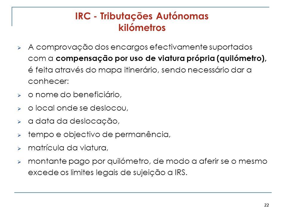 22 IRC - Tributações Autónomas kilómetros A comprovação dos encargos efectivamente suportados com a compensação por uso de viatura própria (quilómetro