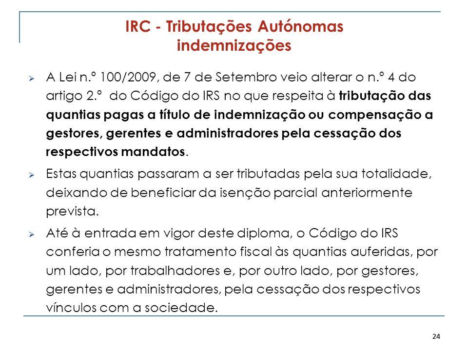 24 IRC - Tributações Autónomas indemnizações A Lei n.º 100/2009, de 7 de Setembro veio alterar o n.º 4 do artigo 2.º do Código do IRS no que respeita