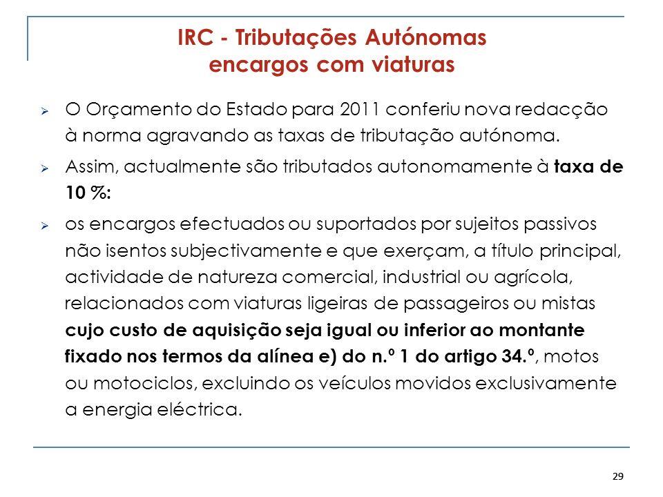 29 IRC - Tributações Autónomas encargos com viaturas O Orçamento do Estado para 2011 conferiu nova redacção à norma agravando as taxas de tributação a