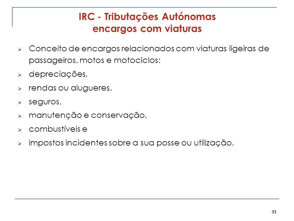 31 IRC - Tributações Autónomas encargos com viaturas Conceito de encargos relacionados com viaturas ligeiras de passageiros, motos e motociclos: depre