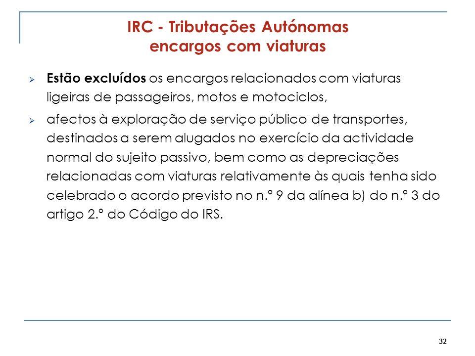 32 IRC - Tributações Autónomas encargos com viaturas Estão excluídos os encargos relacionados com viaturas ligeiras de passageiros, motos e motociclos
