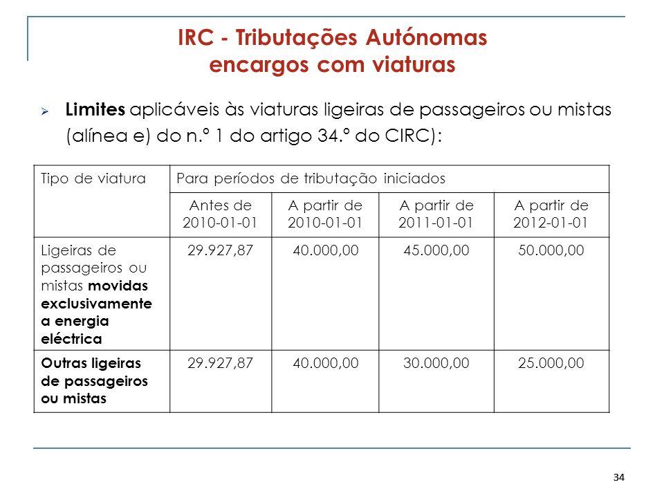 34 IRC - Tributações Autónomas encargos com viaturas Limites aplicáveis às viaturas ligeiras de passageiros ou mistas (alínea e) do n.º 1 do artigo 34