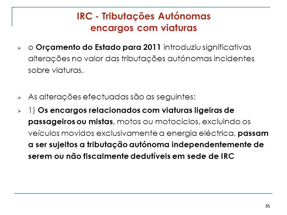 35 IRC - Tributações Autónomas encargos com viaturas o Orçamento do Estado para 2011 introduziu significativas alterações no valor das tributações aut