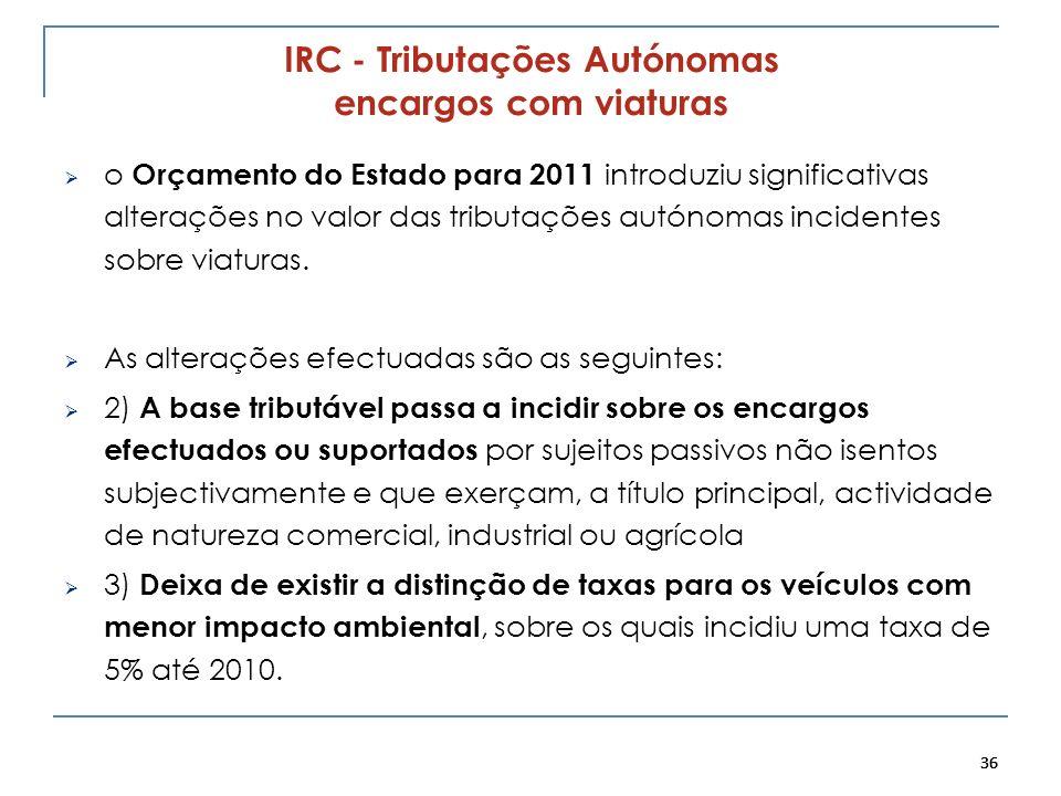 36 IRC - Tributações Autónomas encargos com viaturas o Orçamento do Estado para 2011 introduziu significativas alterações no valor das tributações aut