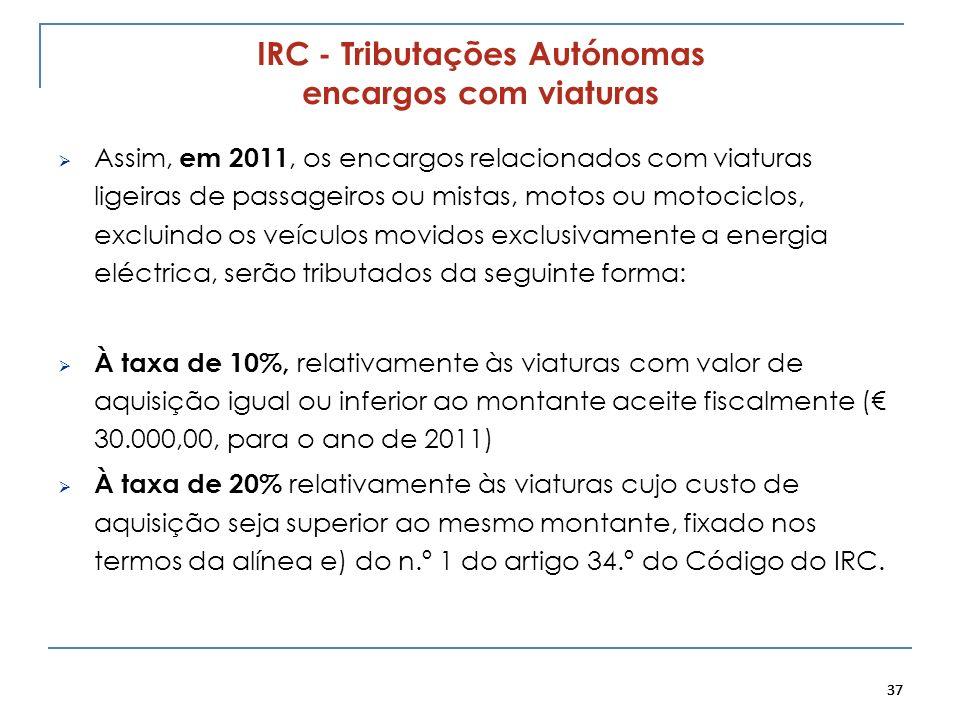 37 IRC - Tributações Autónomas encargos com viaturas Assim, em 2011, os encargos relacionados com viaturas ligeiras de passageiros ou mistas, motos ou