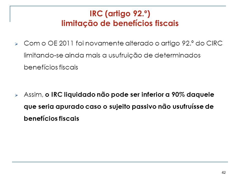 42 IRC (artigo 92.º) limitação de benefícios fiscais Com o OE 2011 foi novamente alterado o artigo 92.º do CIRC limitando-se ainda mais a usufruição d