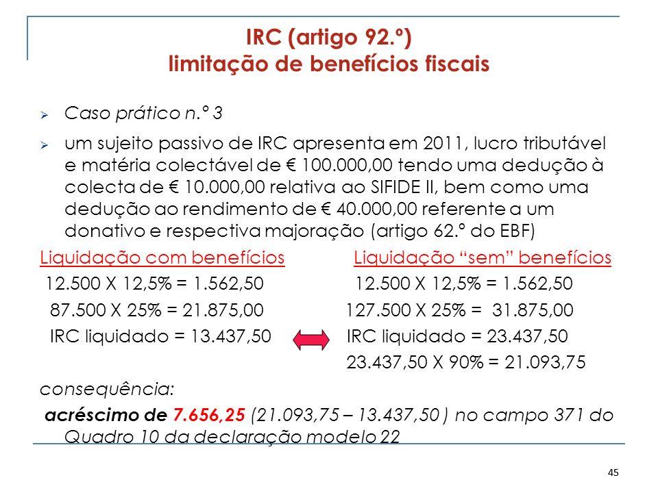 45 IRC (artigo 92.º) limitação de benefícios fiscais Caso prático n.º 3 um sujeito passivo de IRC apresenta em 2011, lucro tributável e matéria colect