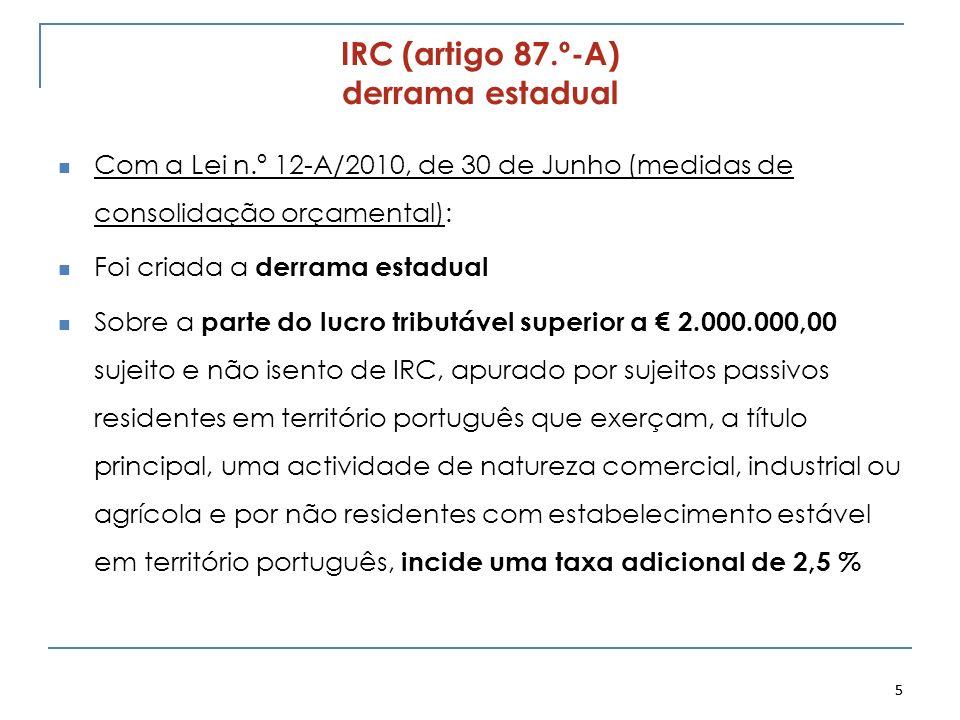 IRC (artigo 87.º-A) derrama estadual Com a Lei n.º 12-A/2010, de 30 de Junho (medidas de consolidação orçamental): Foi criada a derrama estadual Sobre