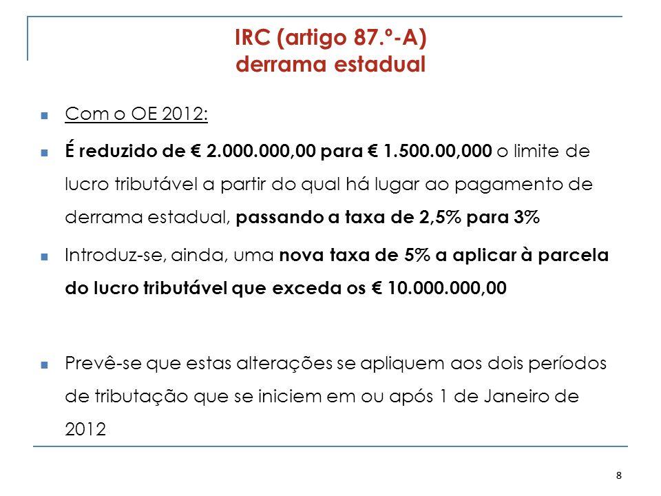 IRC (artigo 87.º-A) derrama estadual Com o OE 2012: É reduzido de 2.000.000,00 para 1.500.00,000 o limite de lucro tributável a partir do qual há luga
