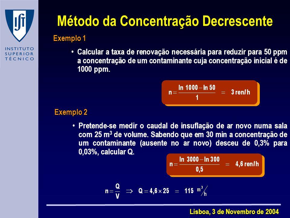 Lisboa, 3 de Novembro de 2004 Exemplo 1 Calcular a taxa de renovação necessária para reduzir para 50 ppm a concentração de um contaminante cuja concentração inicial é de 1000 ppm.
