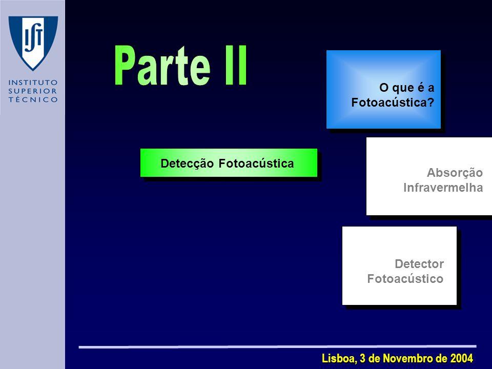 Lisboa, 3 de Novembro de 2004 Detector Fotoacústico Detecção Fotoacústica O que é a Fotoacústica.