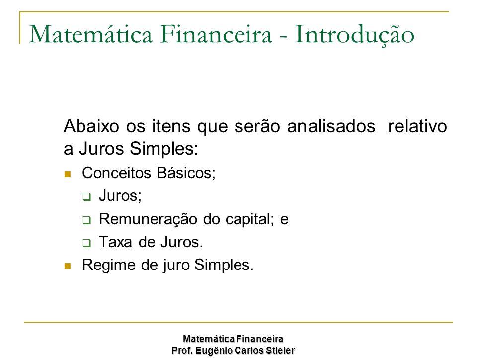 Matemática Financeira Prof. Eugênio Carlos Stieler Matemática Financeira - Introdução Abaixo os itens que serão analisados relativo a Juros Simples: C