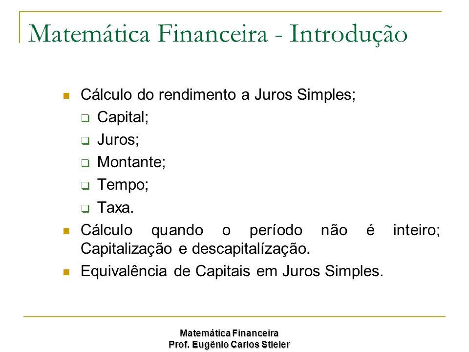 Matemática Financeira Prof. Eugênio Carlos Stieler Matemática Financeira - Introdução Cálculo do rendimento a Juros Simples; Capital; Juros; Montante;