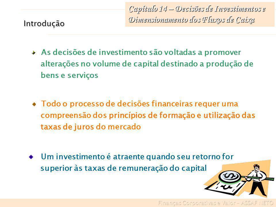 Introdução As decisões de investimento são voltadas a promover alterações no volume de capital destinado a produção de bens e serviços Todo o processo