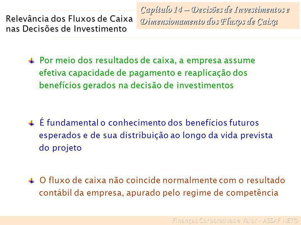 Capítulo 14 – Decisões de Investimentos e Dimensionamento dos Fluxos de Caixa Relevância dos Fluxos de Caixa nas Decisões de Investimento Por meio dos