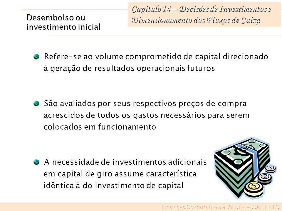 Capítulo 14 – Decisões de Investimentos e Dimensionamento dos Fluxos de Caixa Desembolso ou investimento inicial Refere-se ao volume comprometido de c