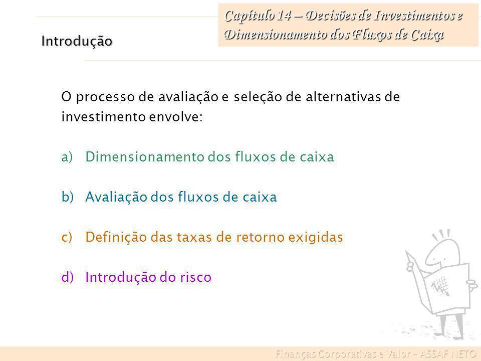 Introdução O processo de avaliação e seleção de alternativas de investimento envolve: a)Dimensionamento dos fluxos de caixa b)Avaliação dos fluxos de