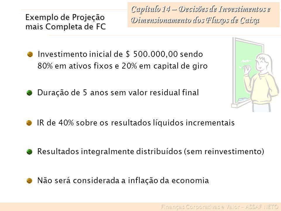 Capítulo 14 – Decisões de Investimentos e Dimensionamento dos Fluxos de Caixa Exemplo de Projeção mais Completa de FC IR de 40% sobre os resultados lí