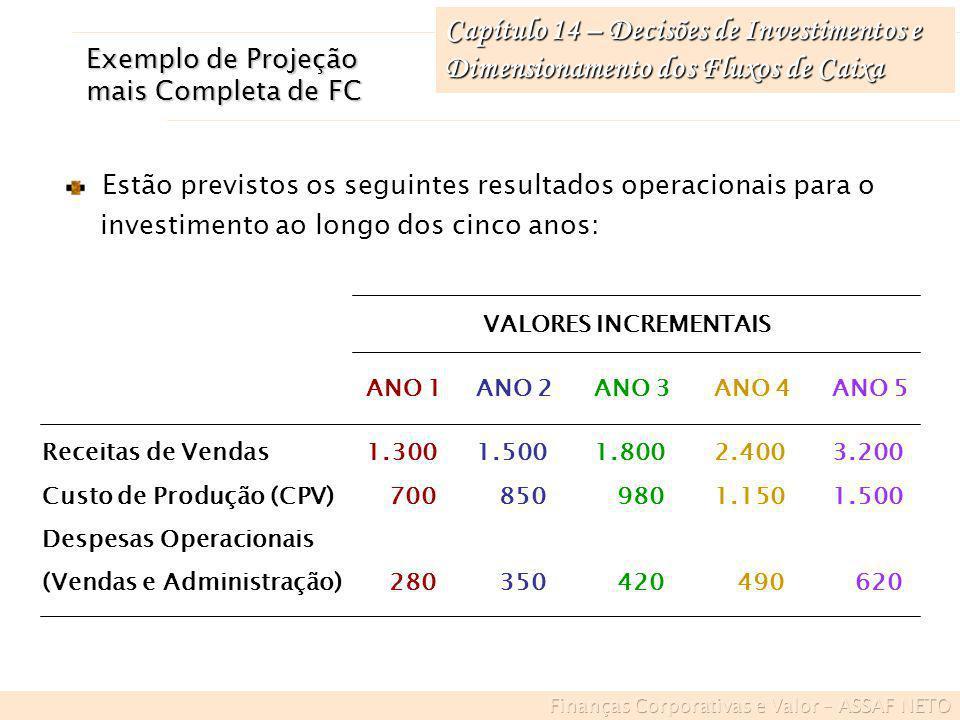 Capítulo 14 – Decisões de Investimentos e Dimensionamento dos Fluxos de Caixa Estão previstos os seguintes resultados operacionais para o investimento