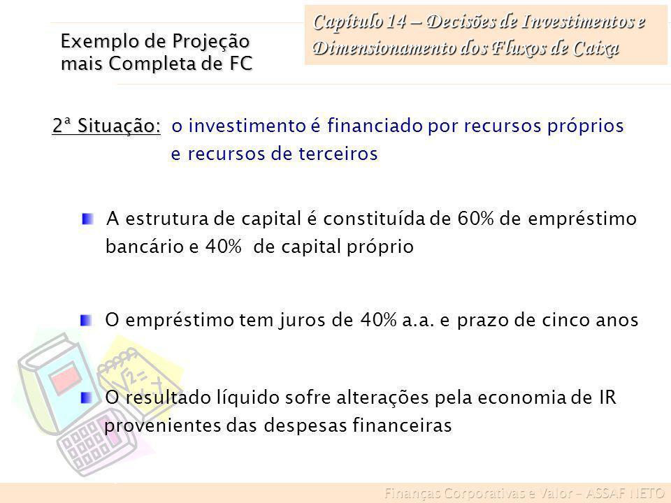 Capítulo 14 – Decisões de Investimentos e Dimensionamento dos Fluxos de Caixa 2ª Situação: 2ª Situação: o investimento é financiado por recursos própr
