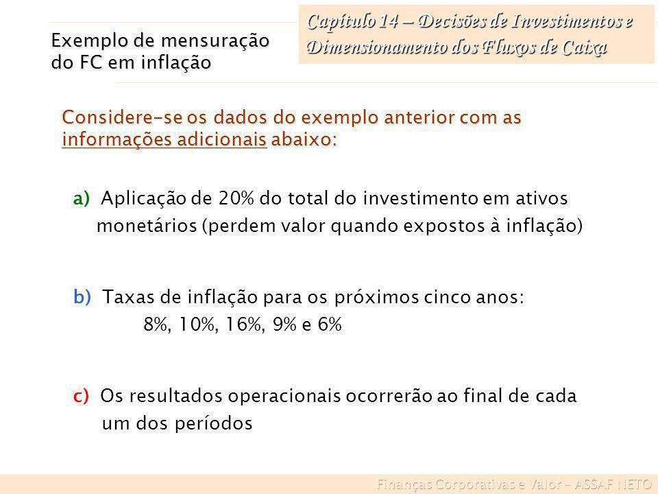 Capítulo 14 – Decisões de Investimentos e Dimensionamento dos Fluxos de Caixa Exemplo de mensuração do FC em inflação a) Aplicação de 20% do total do