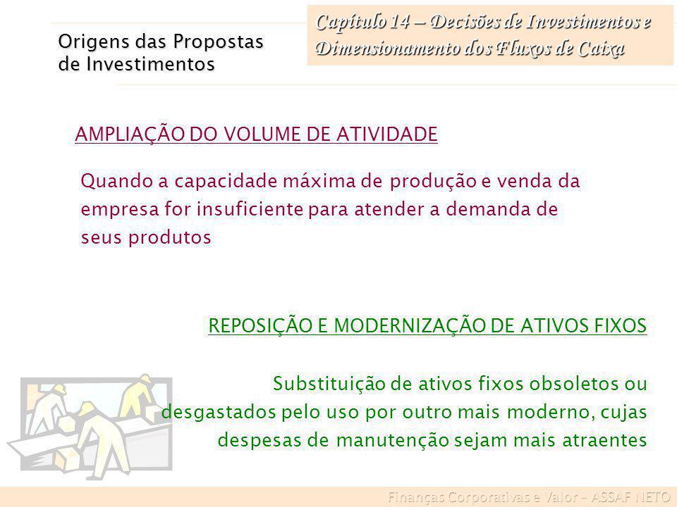 Capítulo 14 – Decisões de Investimentos e Dimensionamento dos Fluxos de Caixa Origens das Propostas de Investimentos Processo comparativo onde são confrontados os desembolsos e os benefícios provenientes desse processos de decisão ARRENDAMENTO OU AQUISIÇÃO Demais modalidades de propostas de investimentos, principalmente as oriundas de serviços externos de assessoria, P&D, publicidade, etc.