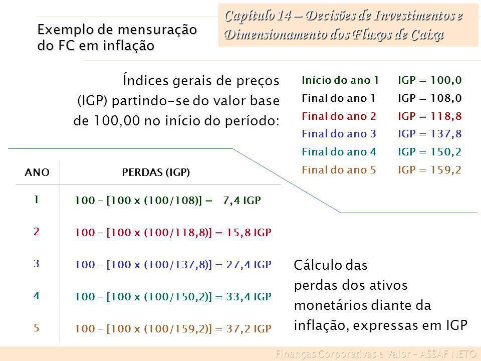 Capítulo 14 – Decisões de Investimentos e Dimensionamento dos Fluxos de Caixa Exemplo de mensuração do FC em inflação Início do ano 1IGP = 100,0 Final
