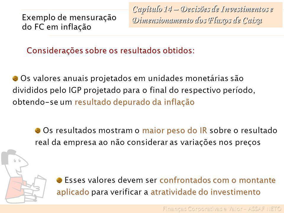 Capítulo 14 – Decisões de Investimentos e Dimensionamento dos Fluxos de Caixa Exemplo de mensuração do FC em inflação resultado depurado da inflação O