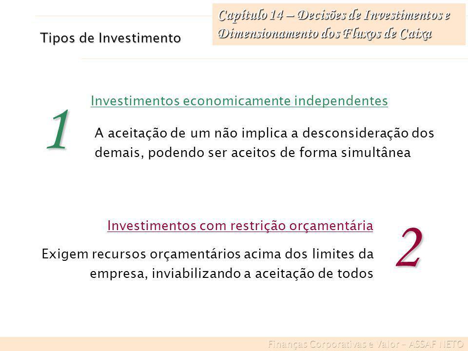 Capítulo 14 – Decisões de Investimentos e Dimensionamento dos Fluxos de Caixa A aceitação de um exerce influência (negativa/positiva) sobre o outro ou depende da implementação do outro Investimentos economicamente dependentes3 Ocorre quando a aceitação de uma proposta elimina totalmente a possibilidade de implementação da outra Investimentos mutuamente excludentes4 Tipos de Investimento 5 Apresentam variações conjuntas em seus resultados ao longo do tempo, estando associado aos mesmos eventos externos Investimentos com dependência estatística