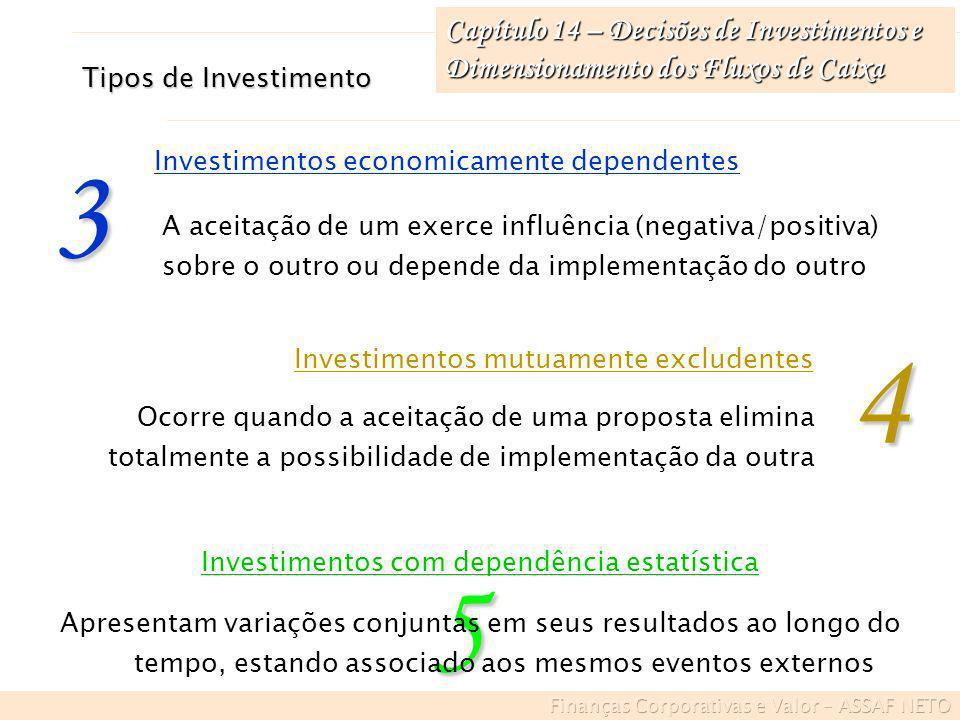 Capítulo 14 – Decisões de Investimentos e Dimensionamento dos Fluxos de Caixa A aceitação de um exerce influência (negativa/positiva) sobre o outro ou